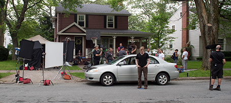 Mr. D crew sets up for a shot on a residential Halifax street during filming of Season 5. Photo credit: Michael Tompkins