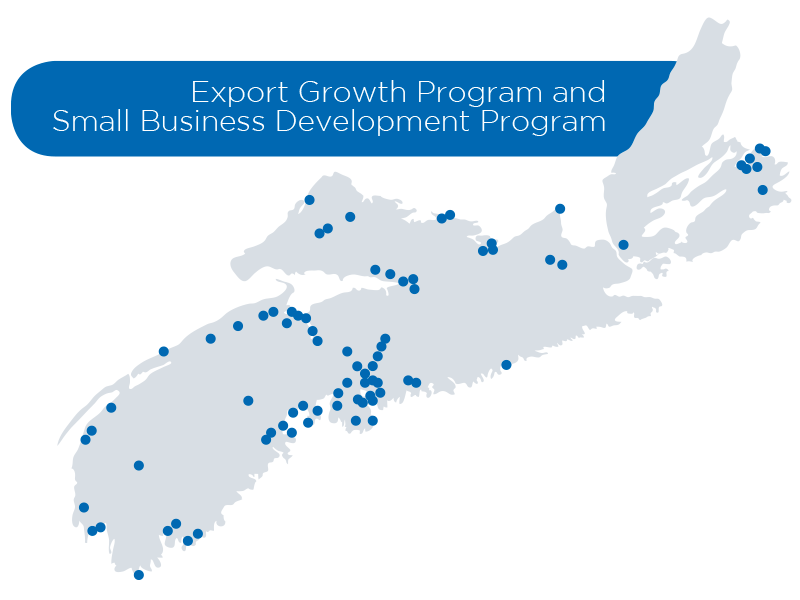 Export Growth Program and Small Business Development Program in regions across Nova Scotia