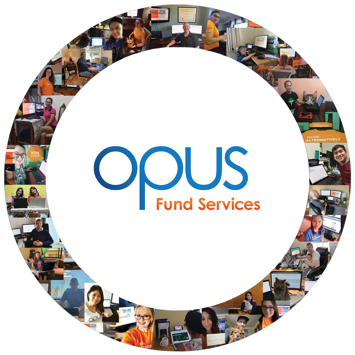 Opus logo surrounded by a circular collage of photos of Opus employees working from home.
