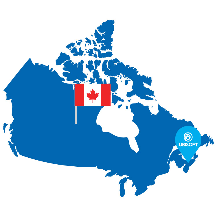 Ubisoft location marker in Nova Scotia and Canadian flag icon on a blue map of Canada
