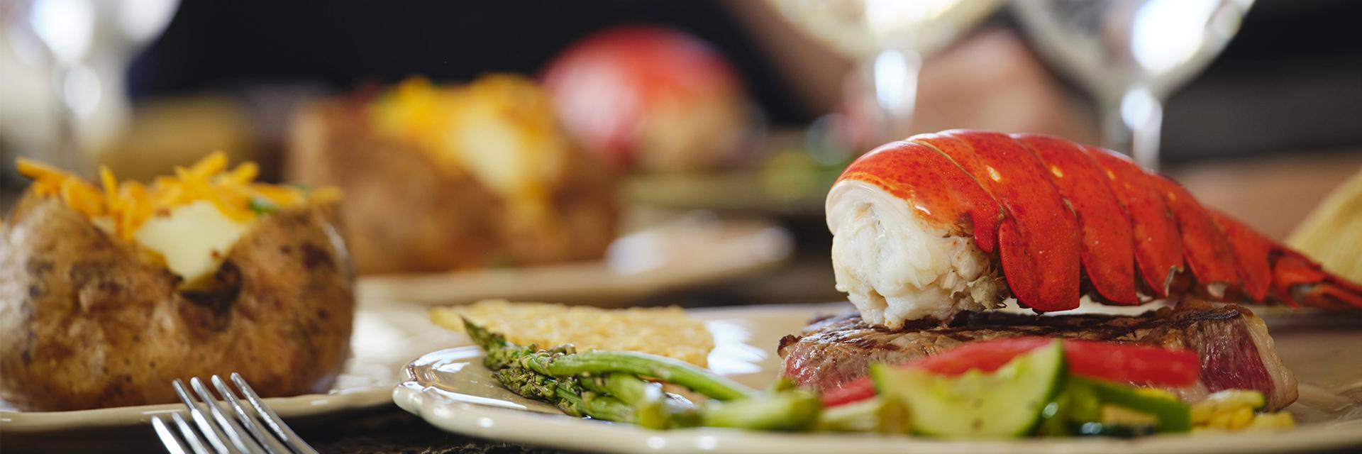 Luxury dinner with lobster and potato