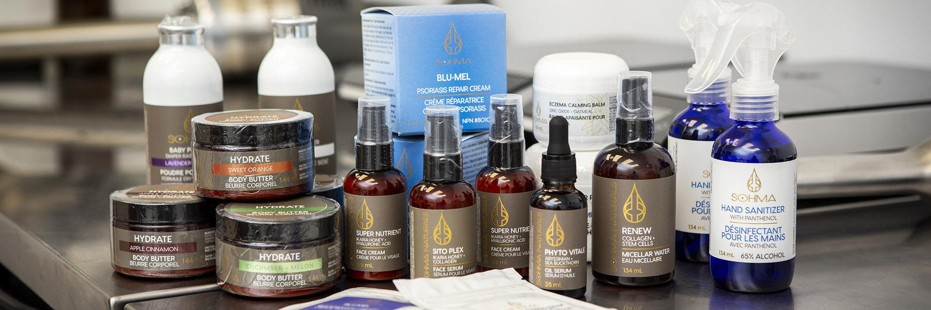Sohma Naturals products showcased in the lab