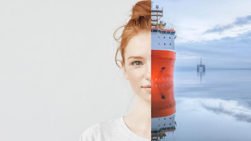 Half a woman's face paired with half of a ship.